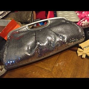 Elliott Lucca's Silver Sequined Push Latch Clutch